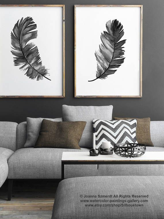 Black Feather Silhouette Set 2 Prints Two Feathers Art Print
