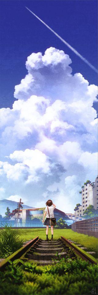 廃線はここで終わり。見上げたその夏空にも終わりがくるのだろう。 廃線参考場所(南大塚駅) 廃墟をテーマにしたイラスト集の一枚です。 ■サンプル、詳細と通販ページはこちら(https://mo: