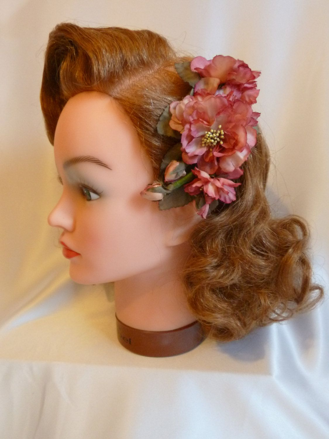 Muted Pinks Vintage Hair Flower 1940s 1950s Aunthentic Vintage