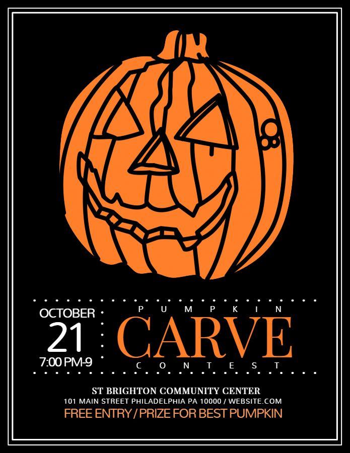 Halloween Carve A Pumpkin Contest Announcement Flyer Social Media