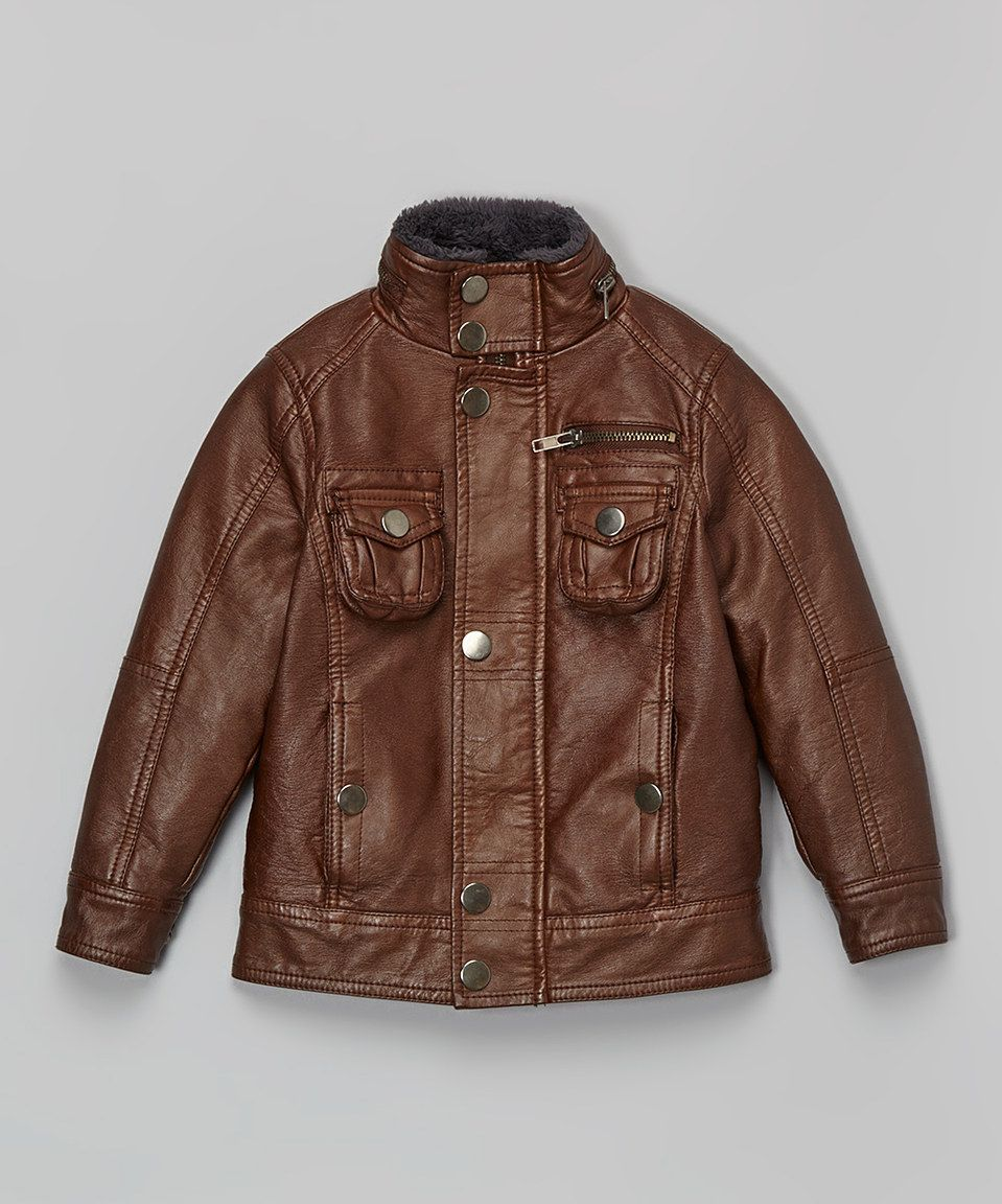 96088c61e Loving this Brown Faux Leather Bomber Jacket - Toddler   Boys on ...
