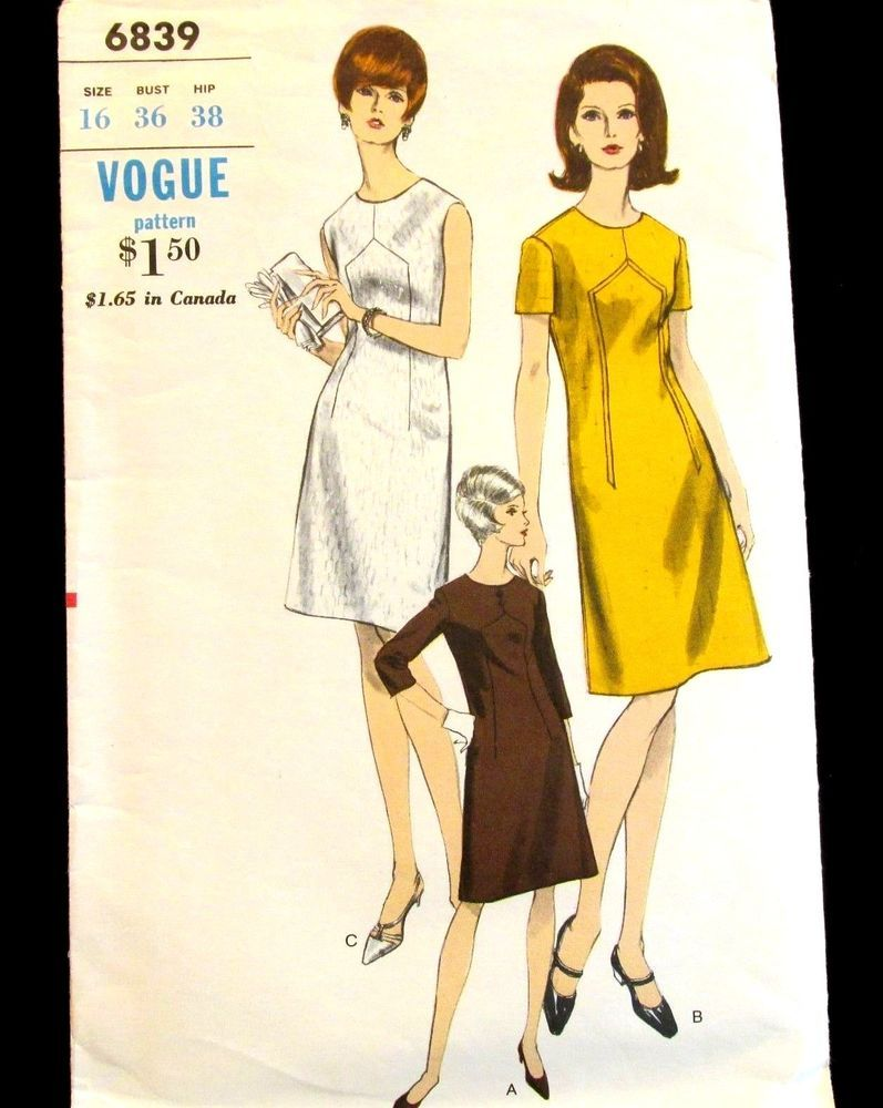 Vogue Pattern 6839 Womens A Line Fit Flare Dress W Sleeve Options