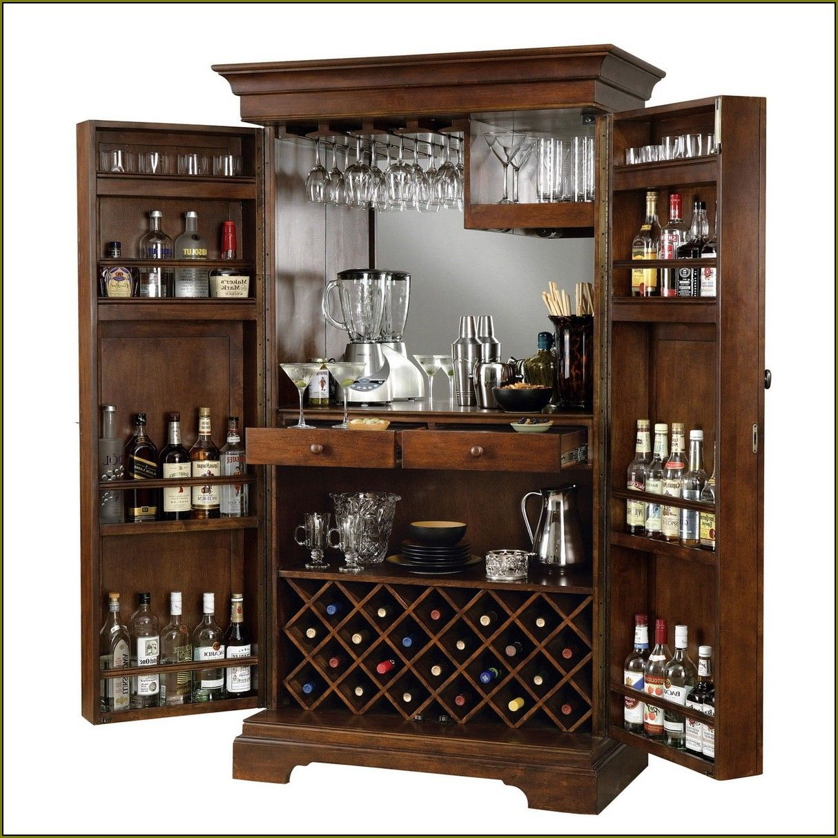 Ordinaire Awesome Brown Liquor Cabinet Ikea Made Of Wood With Swivel Door For Home  Bar Room Furniture Ideas Wooden Wine Racks Wall Mounted Wine Racks Target  Wall ...