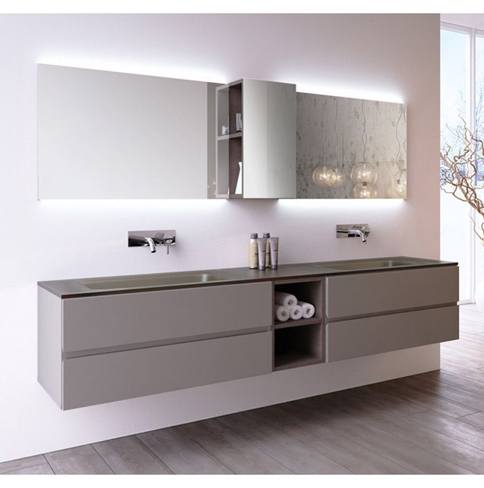 arredo bagno doppio lavabo in cristallo da 210 cm (vari colori ... - Stil Arredo Bagno