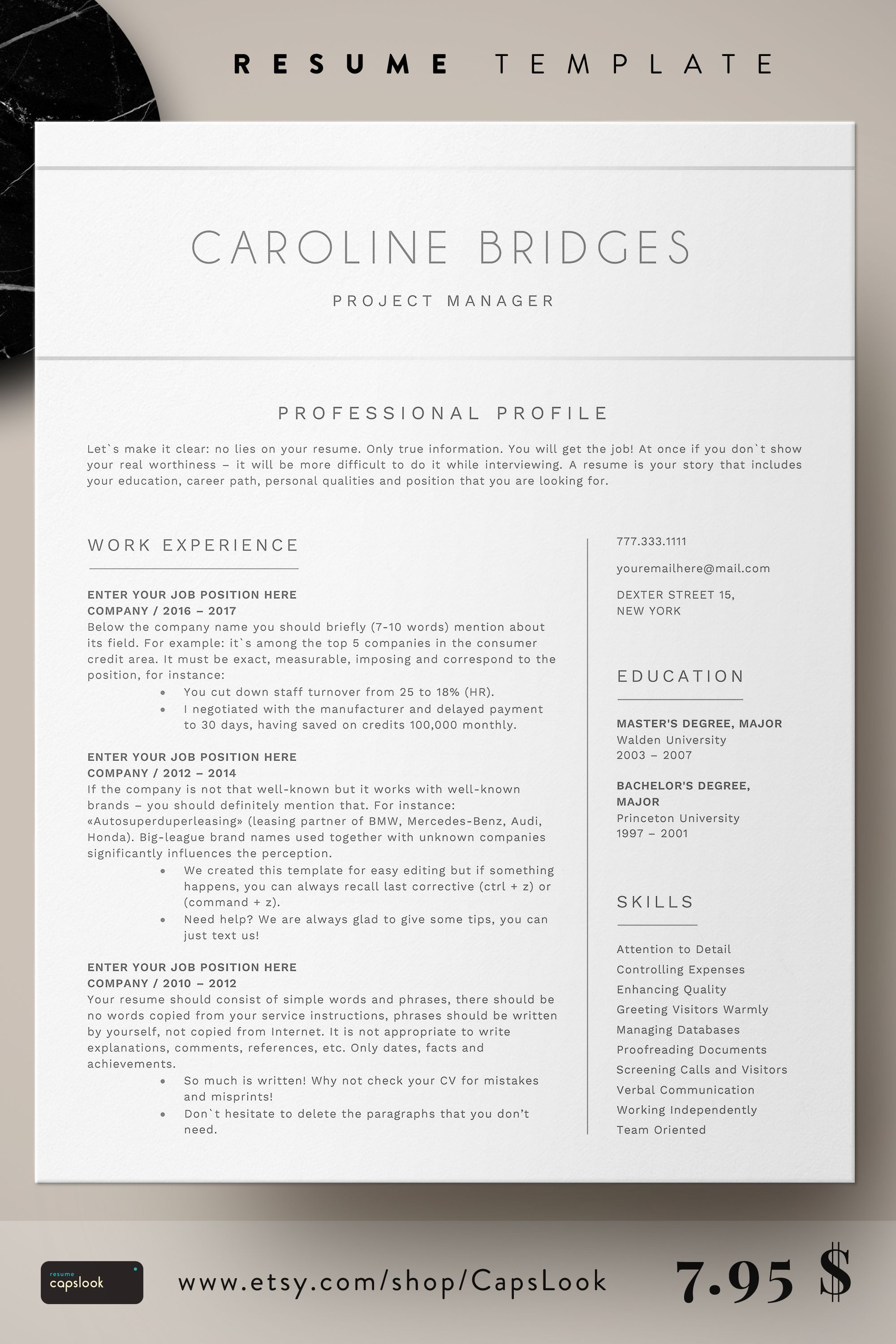 Simple resume format for Microsoft Word! Clean resume