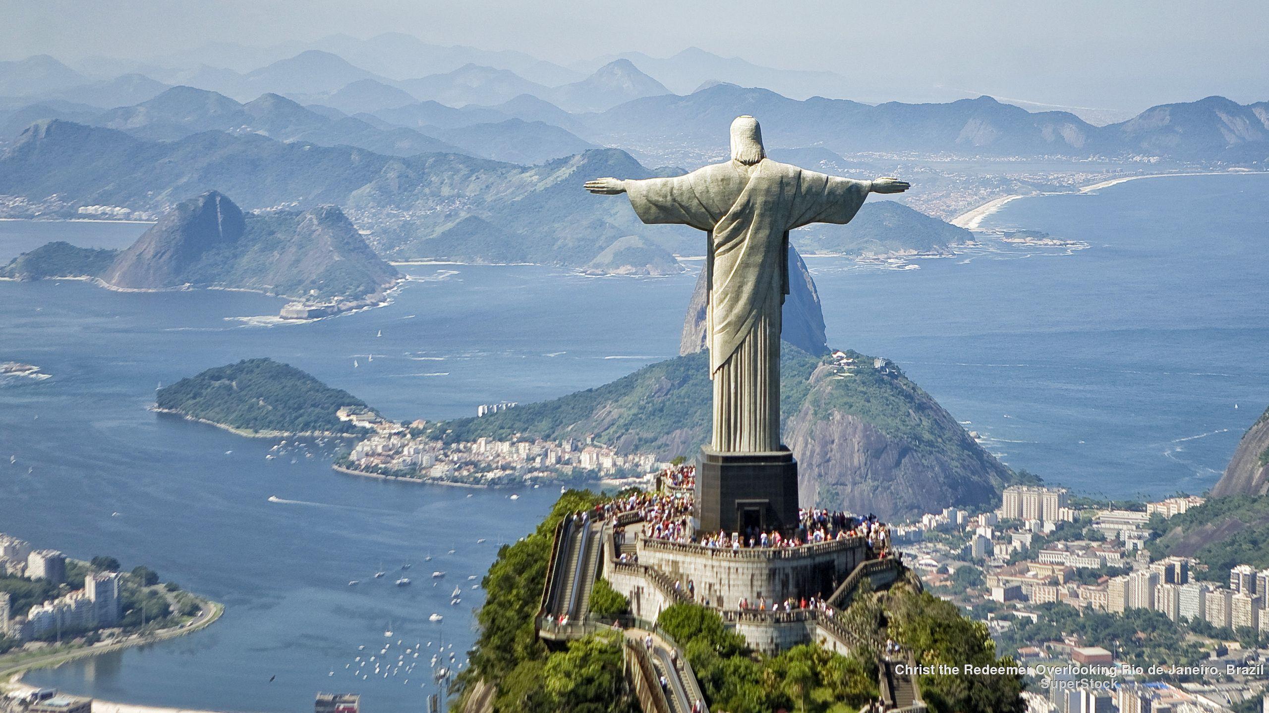 Christ The Redeemer Overlooking Rio De Janeiro Brazil Christ The Redeemer Wonders Of The World Brazil Wallpaper