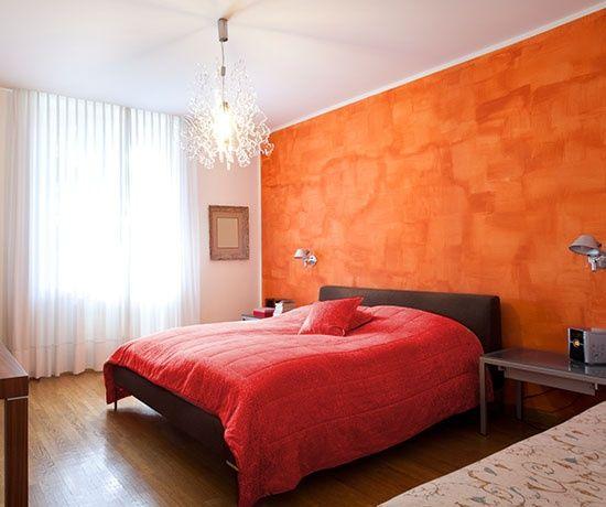 Orange Bedroom Pokraska Sten V Spalne Dlya Doma Dizajn Spalen