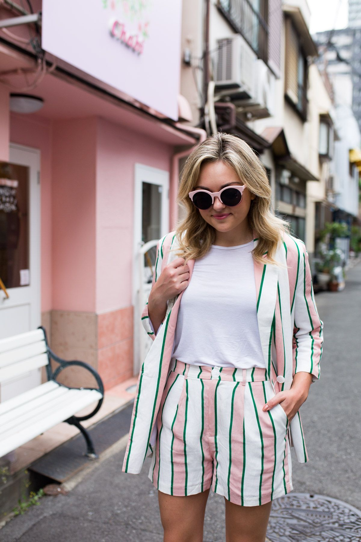 70ac7a34d7 Pink & White Striped Matching Blazer & Shorts Suit Set | Hot Date ...
