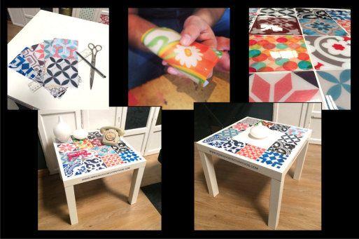 Decoraci n mesa lack con azulejos adhesivos en 2019 - Adhesivos pared ikea ...