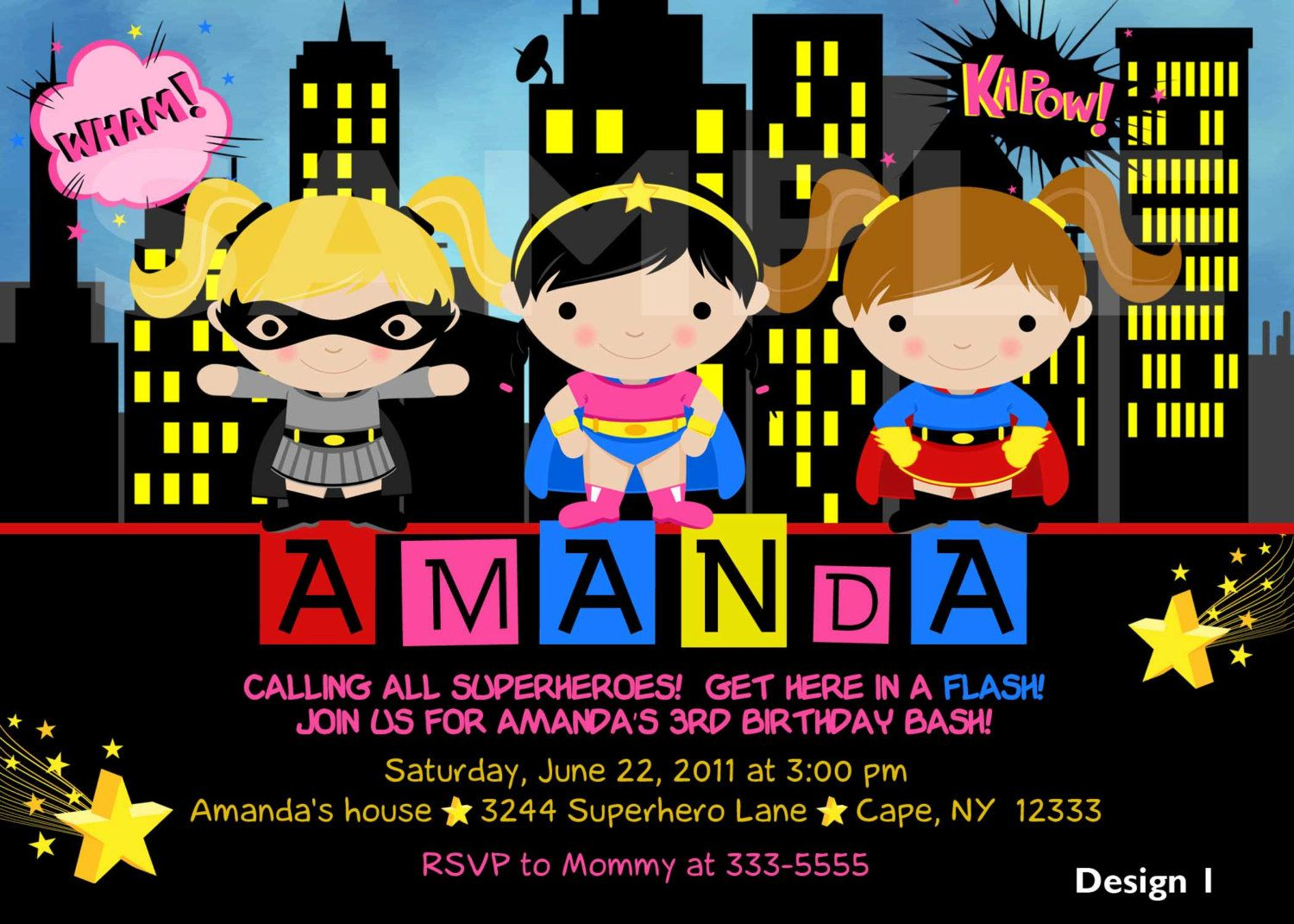 Custom Personalized Girl Superhero Superfriends by theprintfairy – Superheroes Party Invitations