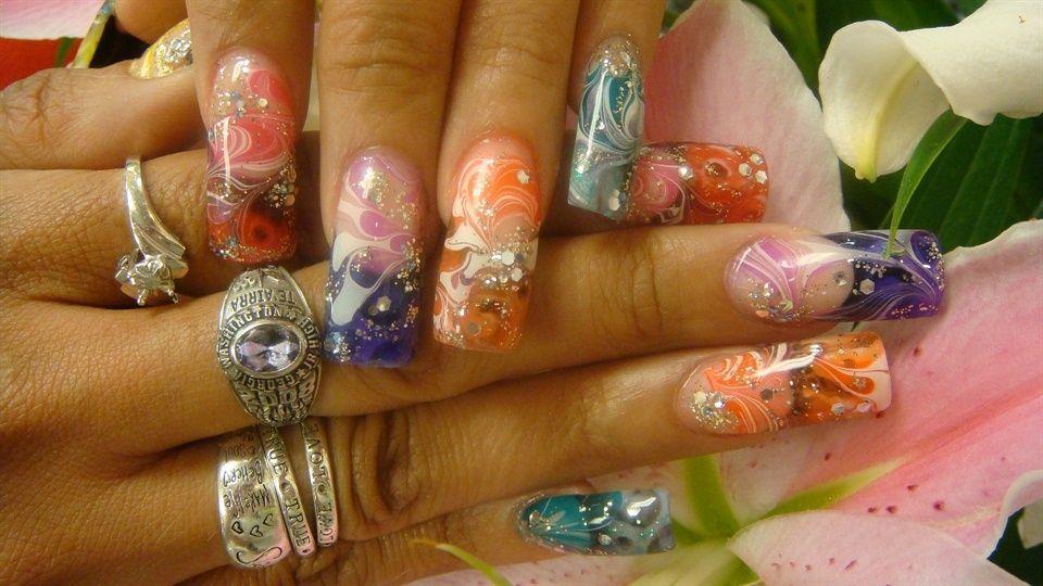 Nails by Akonihb91 (Anthony Hoang): Rainbow nebula design. Get a closer look @ http://nailartgallery.nailsmag.com/akonihb91/photo/277045/rainbow-nebula-1