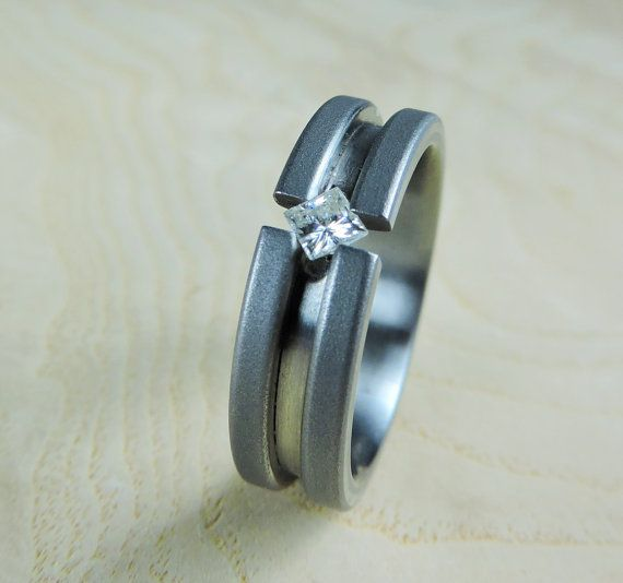 Wedding Ring Titanium And Moissanite Tension Set By RobandLean Womens