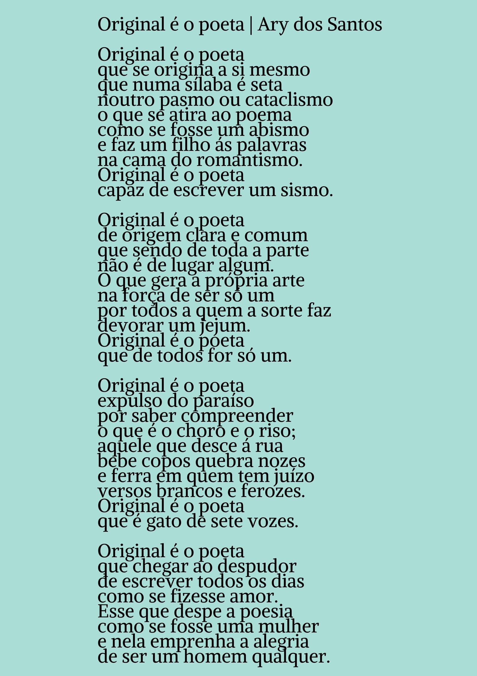 Ary dos Santos | Poema: Original é o poeta