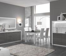 Salle à manger complète blanc et gris laqué design LYDIA   Salle à ...