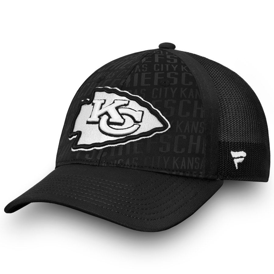 ff3044472 Men s Kansas City Chiefs NFL Pro Line by Fanatics Branded Black Trucker  Adjustable Snapback Hat