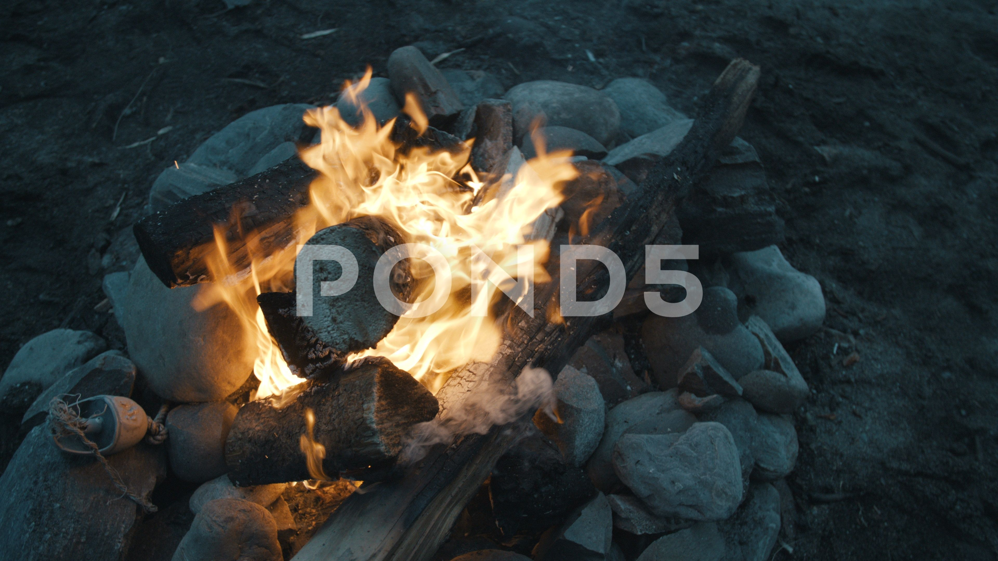 Beach Fire Pit In Pacific Northwest At Cloudy Sunset Stock Footage