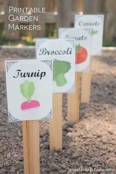 Printable Garden Markers with a vintage seed packet vibe via createcraftlove.com!
