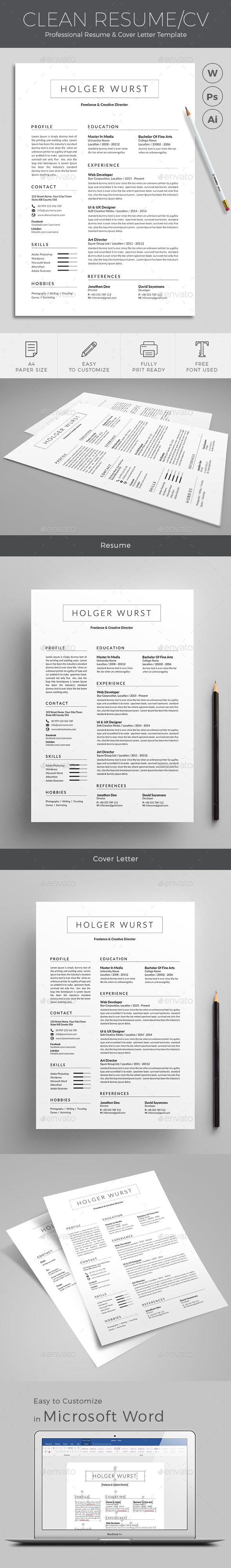 Standard Font Size For Resume Resume  Pinterest  Cv Template Template And Modern Resume