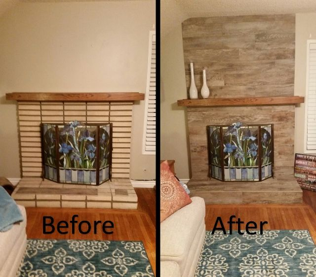 Way to Rock a #Fireplace – with Club Beige #Wood #Tile! - Way To Rock A #Fireplace €� With Club Beige #Wood #Tile!! Check Out