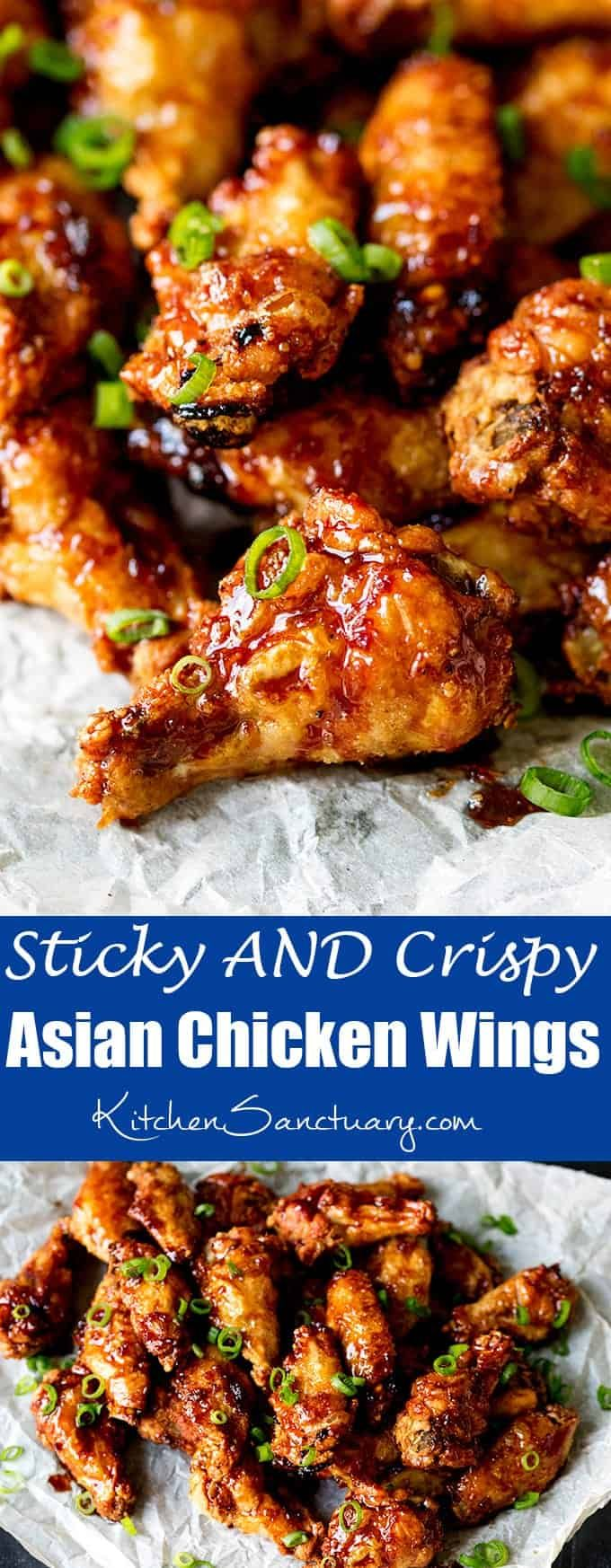 Sticky and Crispy Asian Chicken Wings. These Asian Chicken Wings are Sticky AND Crispy. The best party food ever! #ChickenWings #Wings #PartyFood #GameDay #Recipe #AsianFood