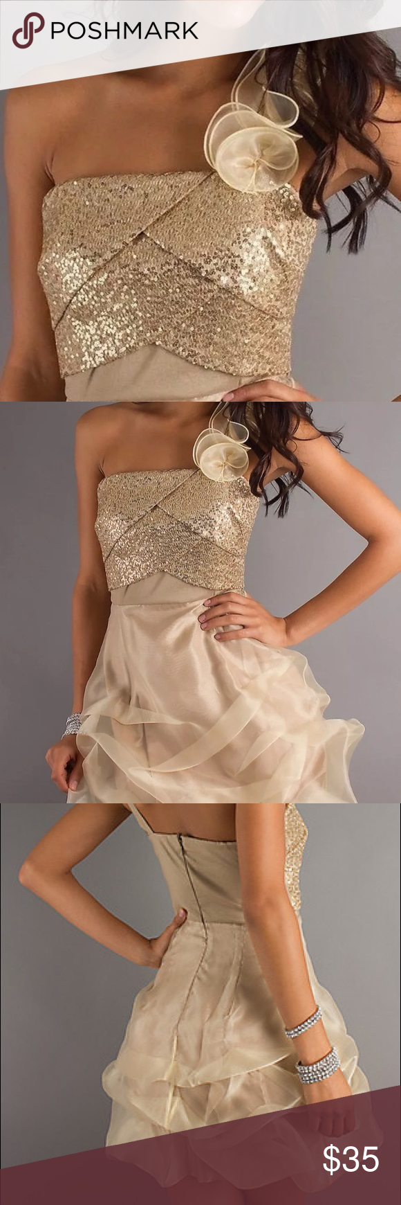Short Gold Prom Formal Cocktail Dress This beautiful short formal dress is in perfect condition, only worn once. It is bound to make a lasting impression with its gold sequin design and a ruffled single strap complete with a slim fitting bodice that sparkles. This is perfect for a cocktail dress for prom, a sweet sixteen party dress, or a homecoming dress in shimmering gold. XOXO Dresses One Shoulder