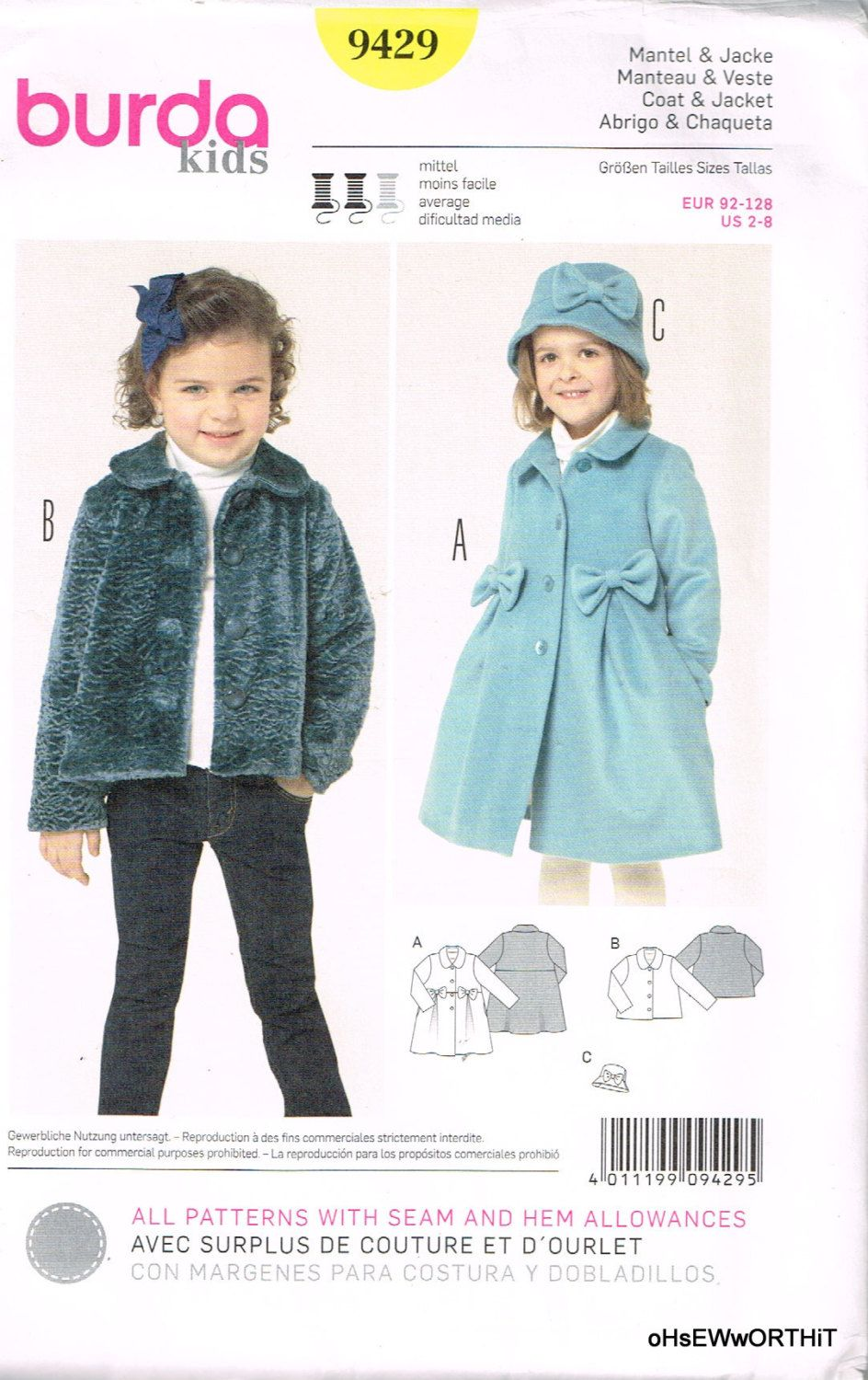Burda 9429, Home Sewing Pattern, Girl\'s Coat, Jacket and Hat, Size 2 ...