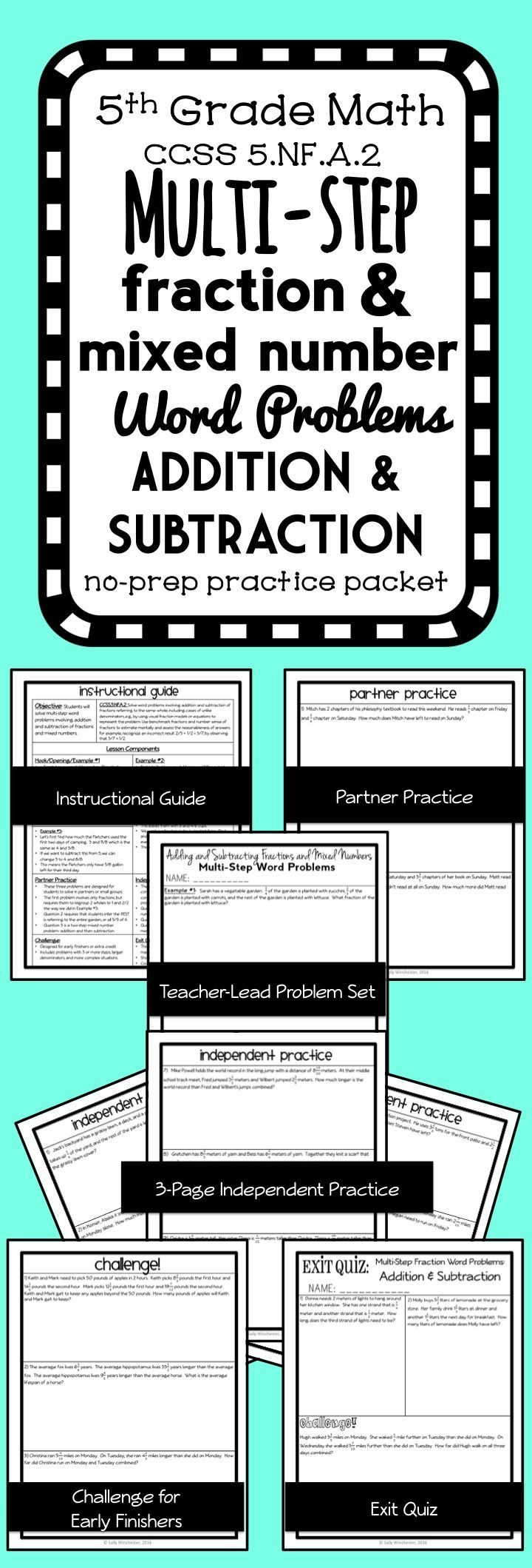 Multi Step Fraction Word Problem Practice Packet Addition