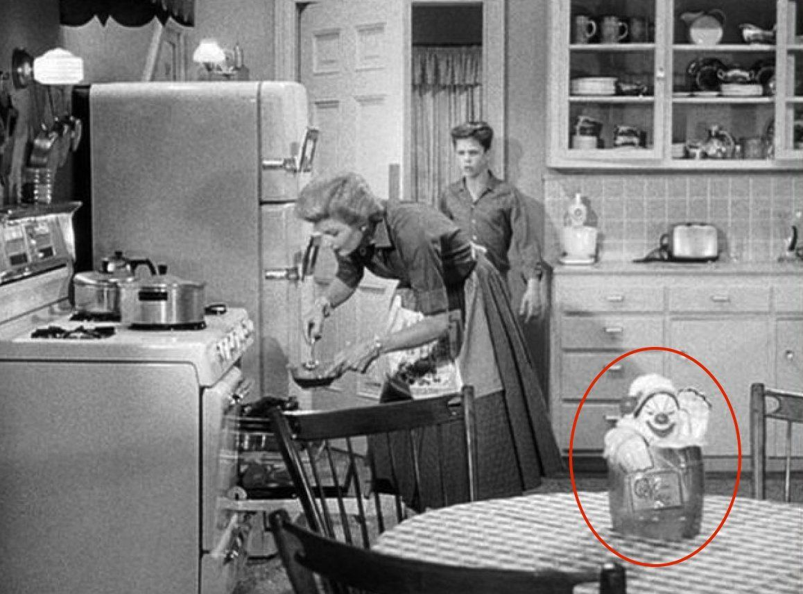 June Cleaver And Wally Cleaver In The Kitchen On The Set