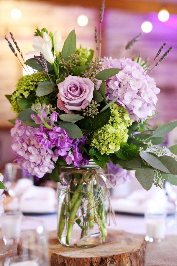 Virginia Farm Wedding Purple Wedding Centerpieces Purple