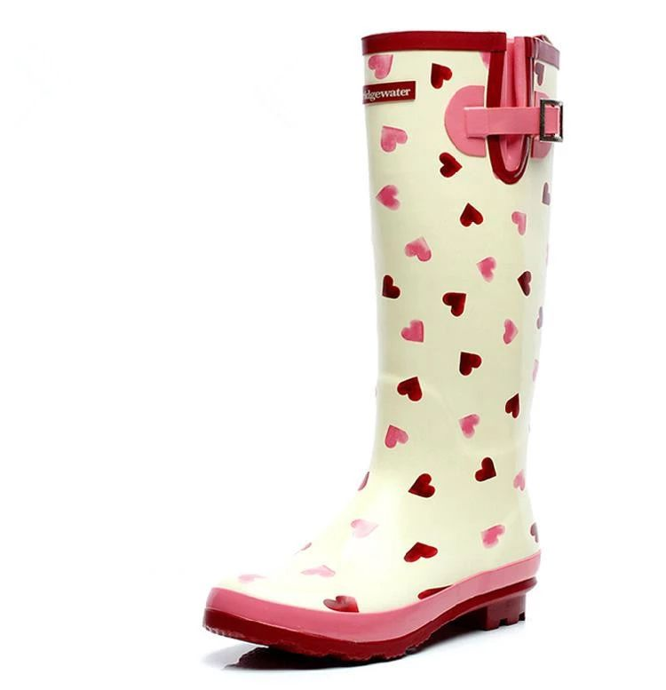 Brand New Women Fashion Rubber Rain Boots Cute Heart-shaped Pink Rainboots Knee-high Water Shoes Wellies Boots Size 34-42 #TS142
