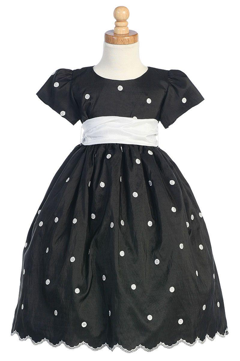 Flower Girl Dress Style C744 Short Sleeved Polka Dot Dress Black