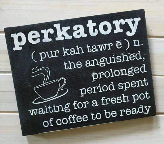 Coffee Signs Kitchen Decor Perkatory Definition  Wood Sign Coffee Sign Definition Sign