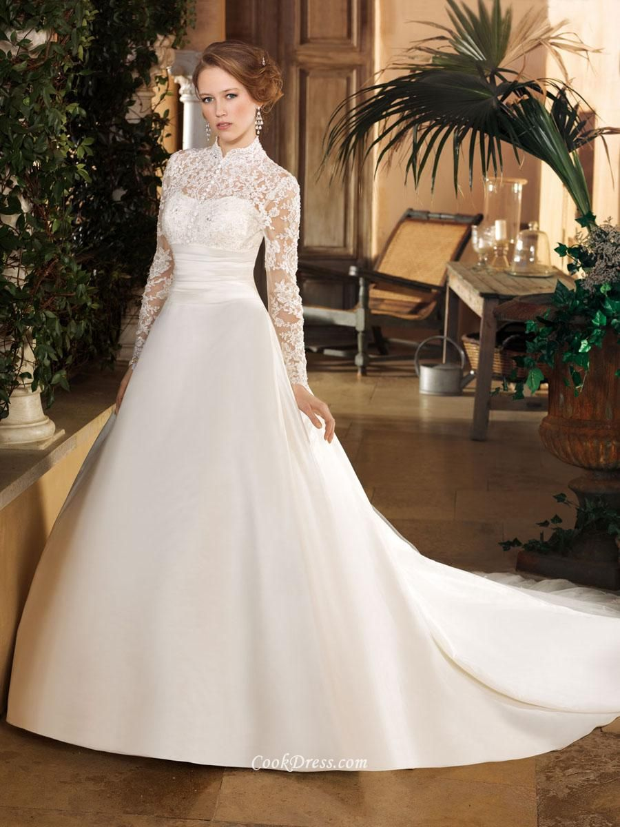 ILLUSION HIGH NECK LONG SLEEVE LACE FALL LACEWEDDINGDRESSNZ WITH SATIN SKIRT Satin Wedding DressesSleeve