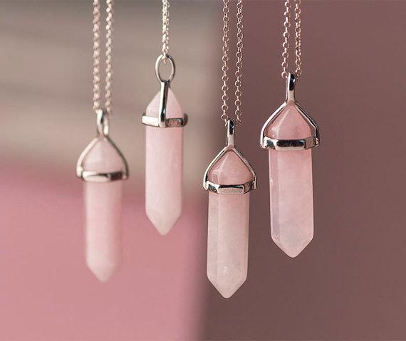 Rose Crystal Point Necklace Rose Quartz Necklace  Pendant Quartz Crystal Layering Healing Crystal Yoga Pendant Double Point Necklace