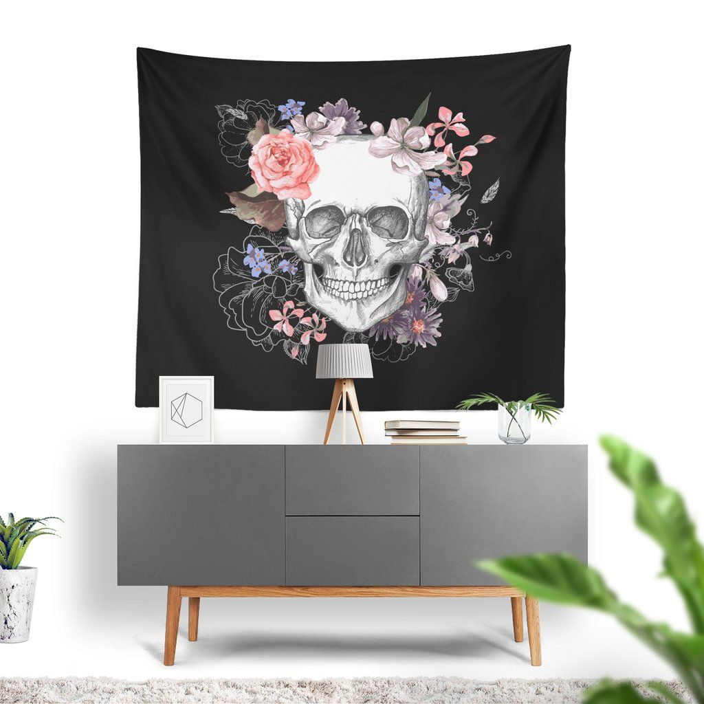 Wall art tapestry halloween roses and skull tapestry and walls