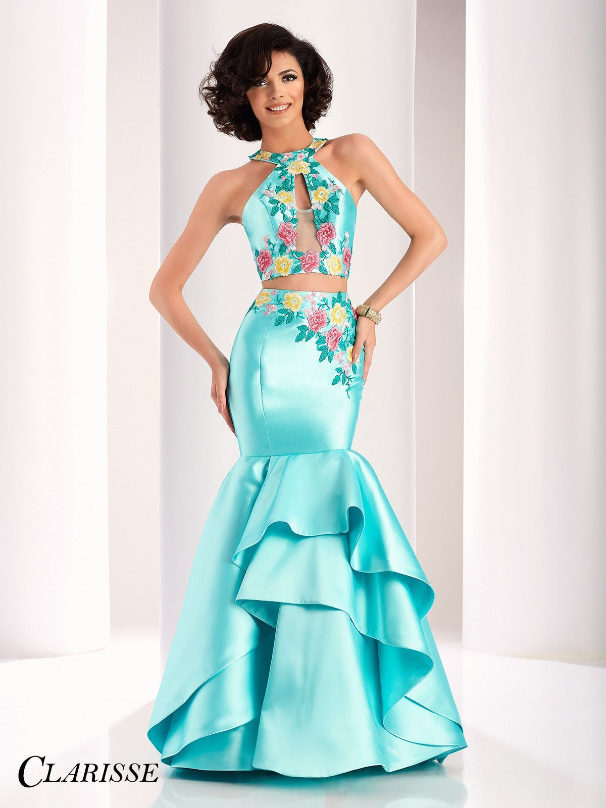 Clarisse prom mint twopiece floral mermaid prom dress