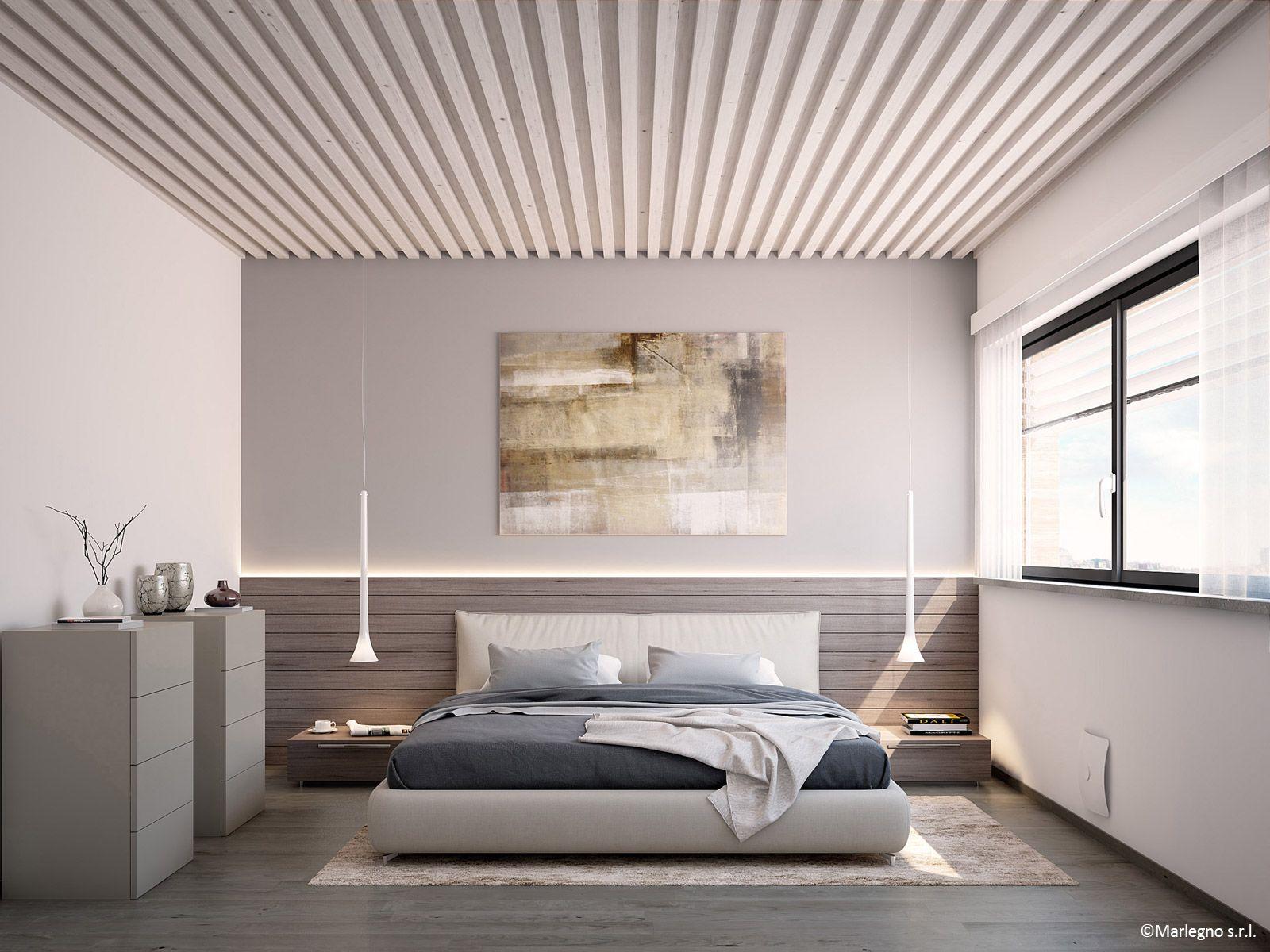 villa in legno moderna camera matrimoniale bedroom