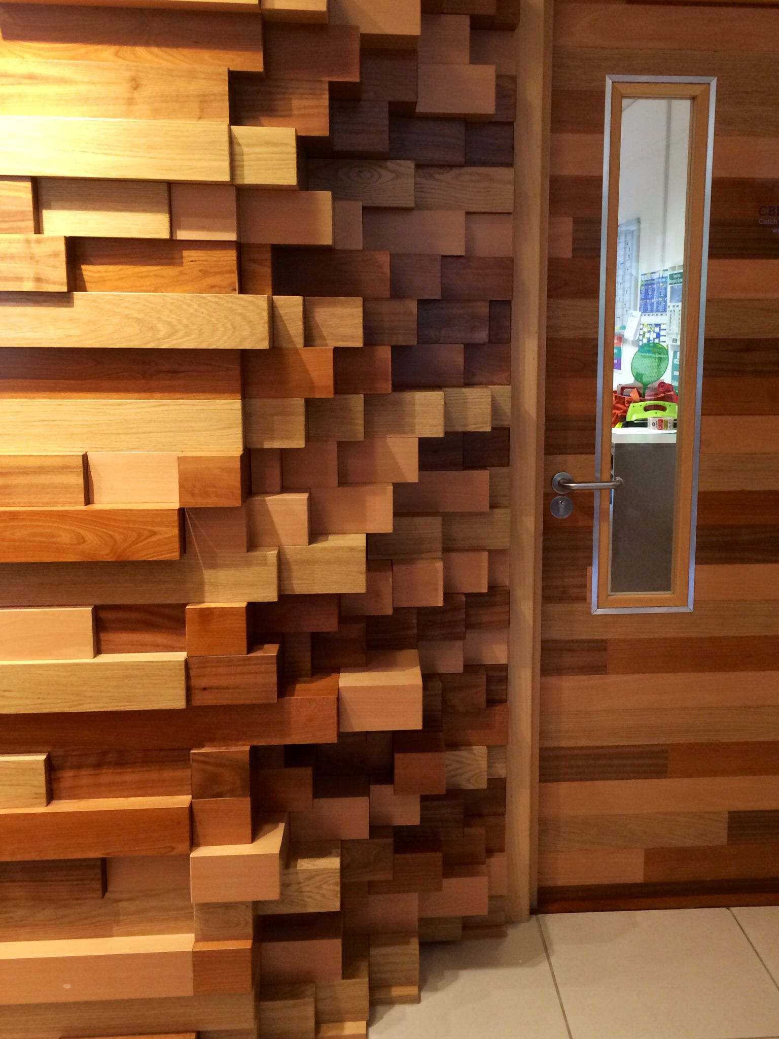 Wood Block Wall Bespoke Wood Block Wall Wood Mosaic Wall  Pinterest  Block