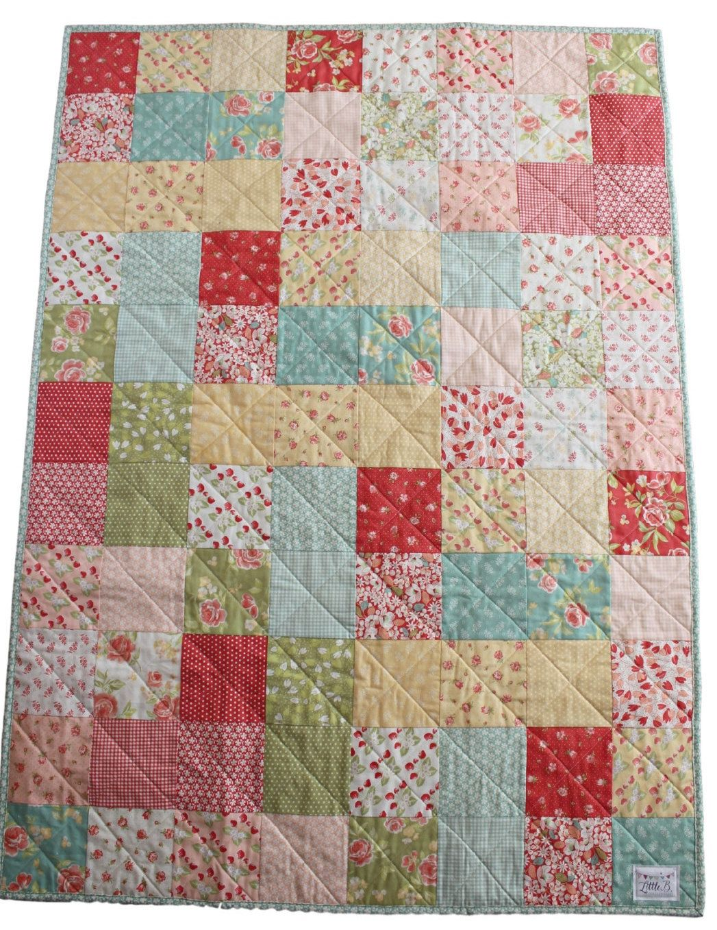Mother's Day Gift For Grandma~Coral Floral Quilt For Mom~Homemade ... : modern quilts for sale - Adamdwight.com