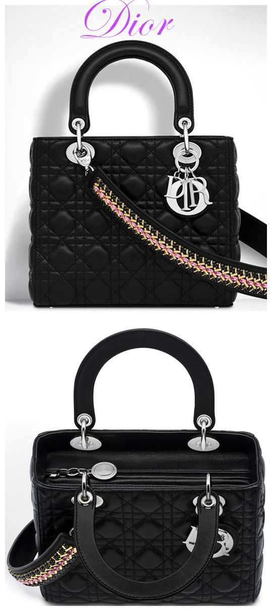 With-Embroidered Shoulder Strap. Christian Dior Lady Dior Medium Classic  Tote Bag With Lambskin Black 061e36b4d90c2