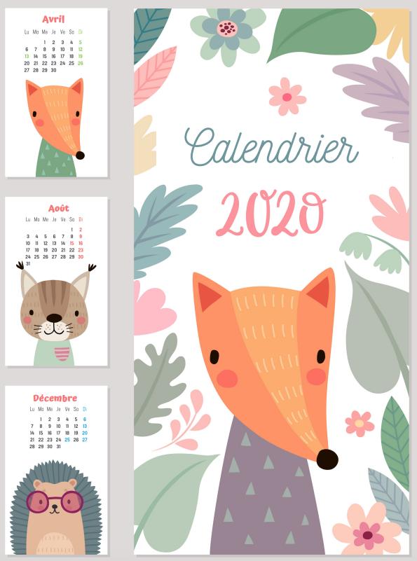 Année 2020: Calendriers 2020 à imprimer pour les enfants en 2020