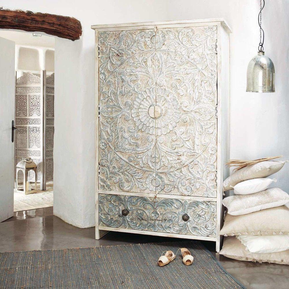 Schrank Aus Massivem Mangoholz B 110 Cm Weiss Silbern Maisons Du Monde Mangoholz Indische Mobel Kommode Shabby Chic