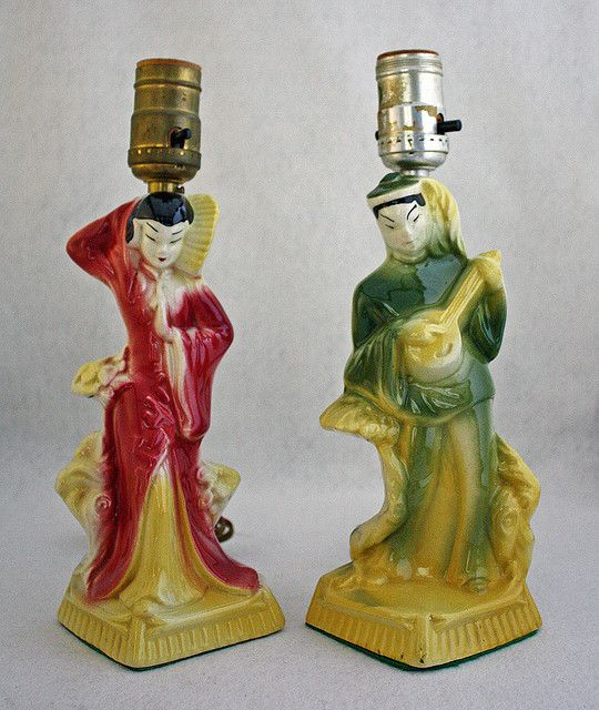 Asian Boudoir Lamps by Tinkers Moon, via Flickr--  These are wonderful, like chalkware, but in glossy pottery!