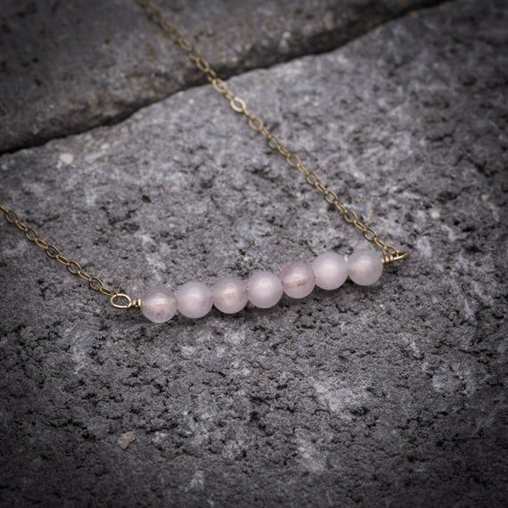 Rose quartz necklace, pink bar necklace, love necklace, rose quartz jewelry, gemstone necklace, minimalist necklace, layering necklace #quartznecklace