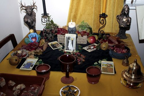 Mabon Altar  --  Gosh I need some statuettes of Freyja and Odin still, it would just complete my altar <3