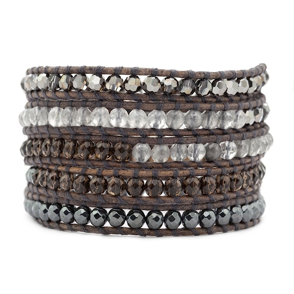Silver night crystal, grey cloudy quartz, smokey, and hematite on Natural Grey Leather