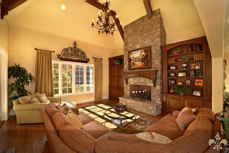Tall ceilings. Lovely fireplace! Not crazy about furniture or curtains though.