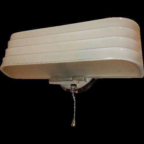 Vintage Streamlined Deco 2 Light Bulb Chrome Bathroom Wall Fixture W Pull Chain Lightolier