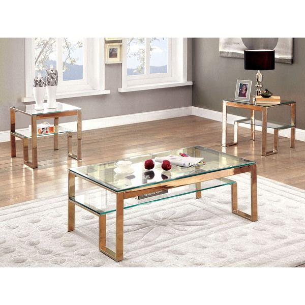 Furniture of America Estelline Contemporary Metal Glass Top Coffee