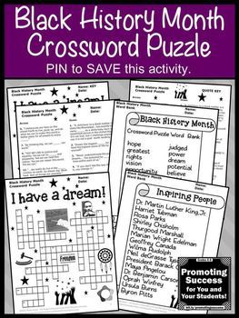 Black History Month Crossword Puzzle Martin Luther King Day Activity